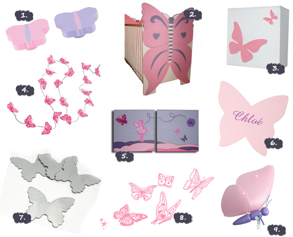 modeles appliques murales chambre bebe papillon